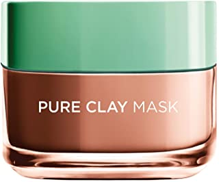 L'Oréal Paris Pure Clay Red Face Mask with Red Algae, Exfoliates and Brightens Pores, 50ml