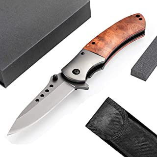 Unilove Pocket Knife Folding Knife Tactical Knife with Sheath Folding Pocket Knife with Case for Camping Hunting Survival and Outdoor