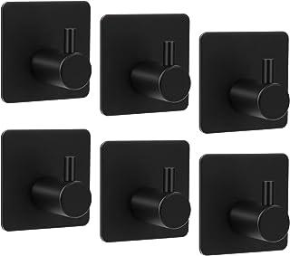 Chielor Self Adhesive Towel Hooks, Heavy Duty Wall Matte Black Hooks Waterproof SUS 304 Stainless Steel Hooks for Hanging ...