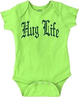 Hug Life Cute Funny Thug Newborn Gangster Romper Bodysuit