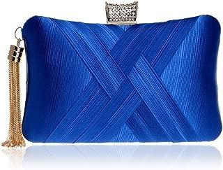 Redland Art Women's Fashion Polyester Woven Mini Clutch Bag Shoulder Wristlet Crossbody Evening Handbag Purse Catching Bag for Wedding Party (Color : Blue)