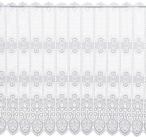 Plauener Spitze by Modespitze, Store Bistro Gardine Scheibengardine mit Stangendurchzug, hochwertige Stickerei, Höhe 83 cm, Breite 96 cm, Weiß