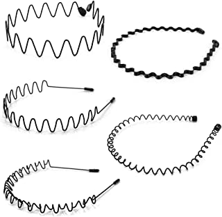 UTSAUTO 5PCS Metal Hair Bands Unisex Wavy HairHoop