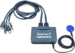 JideTech 2-Port USB HDMI Cable KVM Switch Video, Cables & USB Peripheral Sharing Support 4k×2K@30hz Resolution