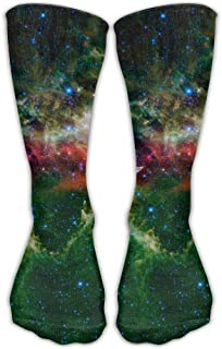 iuitt7rtree Green Galaxy Space Unisex Calcetines Casuales Medias atléticas Calcetines Divertidos 7722