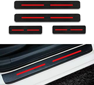 For Volkswagen Jetta Passat Polo Golf mk4 Door Sill Protector Reflective 4D Carbon Fiber Sticker Door Entry Guard Door Sill Scuff Plate Stickers Auto Accessories 4Pcs Red