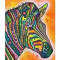5DDIYフルラウンドドリルダイヤモンドペインティングキットラインストーン描画画像家の装飾アートクラフト-カラフルな馬-40x40cm