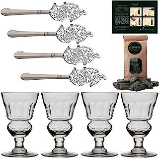 ALANDIA Absinth-Zubehör Set | 4X Absinth-Gläser mundgeblasen | 4X Absinth-Löffel Edelstahl | 1X Absinth-Zuckerwürfel