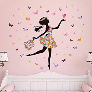 Supzone Butterfly Girl Wall Stickers Flowers Fairy Wall Decal for Girls Baby Nursery Bedroom Living Room Kids Bathroom Wal...