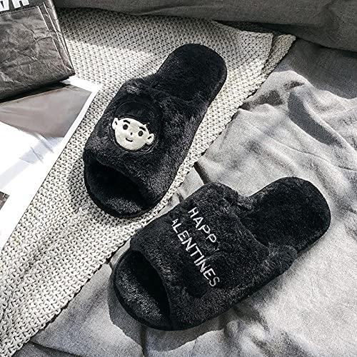 COQUI Sandalia Hombre,Zapatillas furturas furturas Femeninas Pareja Interior Interior Lindo Dibujos Animados Abierto casa de algodón Zapatillas Antideslizantes Hombres-Chica en Negro_42-43