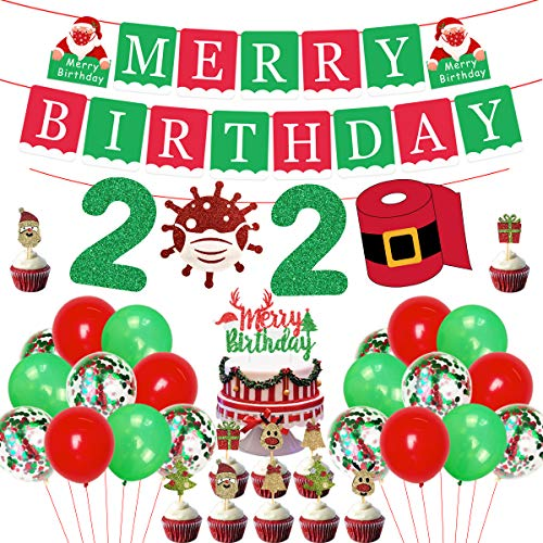 Christmas Birthday Decorations Merry Birthday Banner Cake Topper 2021 Quarantine Themed Garland for for Xmas Eve, Holiday, New Year Party Supplies