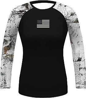 O2TEE Women's UV Sun Protection Long Sleeve Outdoor T-Shirt Athletic Top American Flag Rashguards