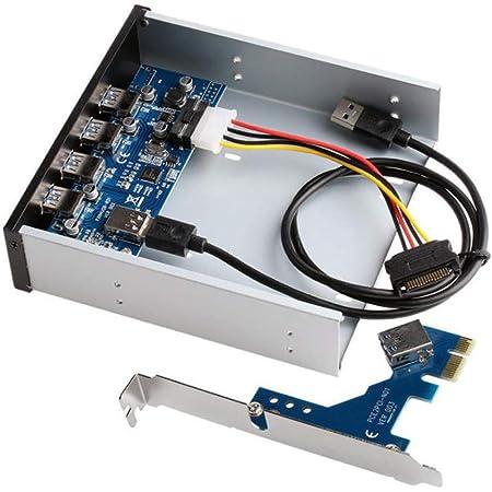 Nrpfell Adattatore per Scheda PCI-e PCI Express HUB sul Pannello Frontale a 4 Porte USB 3.0 da 5,25 Pollici Alloggiamento di Espansione del Pannello Frontale per PC
