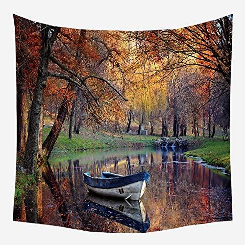 Tapiz colgante de pared paisaje río tapices de pared hermoso paisaje cortina flor árbol revestimiento de pared tela de fondo a6 73x95cm