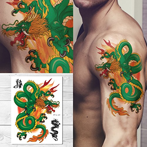 Supperb Temporary Tattoos - Green Dragon on Fires