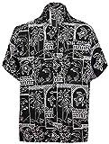 LA LEELA Men's Relaxed Hawaiian Shirt Button Down Aloha Party Shirt L Black_W466