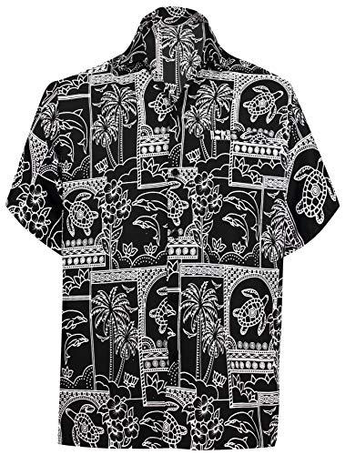 LA LEELA Männer Hawaiihemd Kurzarm Button Down Kragen Fronttasche Beach Strand Hemd Manner Urlaub Casual Herren Aloha Halloween Schwarz_W466 4XL
