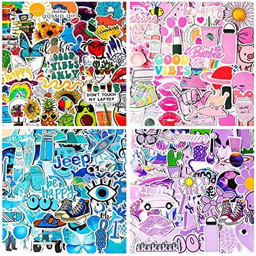 200PCS Vsco Stickers Packs for Water Bottle, Aesthetic Sticker for Hydro Flask, Laptop, Computer, Phone, Cute Vinyl Stickers Decals for Teens, Kids and Girls