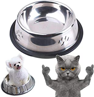 """KUNWU Stainless Steel Dog Feeding and Watering Supplies Bowls 12"""" Basins for Extra Large Pets, Huge Dogs, Giant Dogs (XLar..."""
