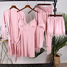 Dames Badjas Dames Nachtkleding Zijden Satijnen Pyjama Nachtkleding Kanten Meisjes Nachtkleding Roze Losse Badjas Kamerjas...