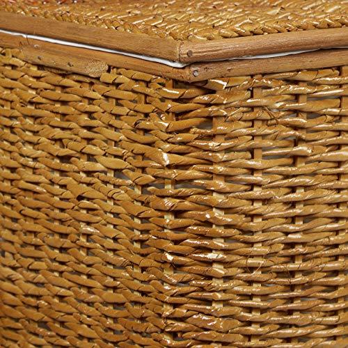 Relaxdays 3er Set Buri H x B x T: 39 x 60 x 37,5 cm Flechtoptik mit Deckel 71 L Korbtruhe mit herausnehmbarem Innenfutter Aufbewahrungstruhe atmungsaktiv stapelbare Wäschetruhe Natur, honigbraun - 5