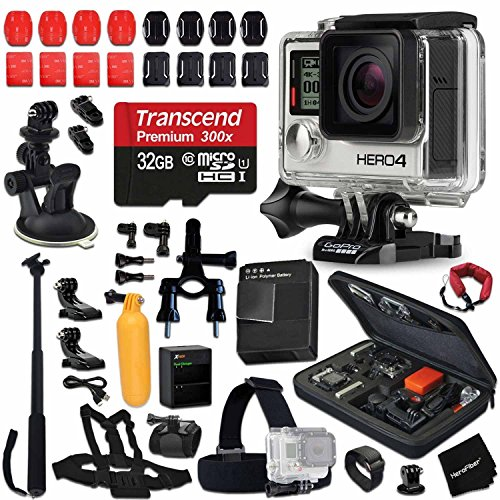 GoPro Hero 4 Black Edition Camera KIT + 32GB High-Speed Memory Card + AHDBT-401 Battery + Dual Charger + Custom Fitted Case + Car Mount + Head Strap + Chest Strap + Selfie Stick + Bike Mount + More