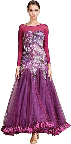 Danse Moderne Robes Perforhommece pour Les Femmes, Concours De Danse Valse Manches Longues Impression Tulle épissure (Couleur   violet, Taille   XL)