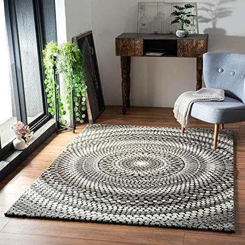 onloom Teppich Relief Circle, moderner Webteppich mit Buntem Muster in Mehreren Größen, strapazierfähig, Farbe:Grau, Größe:80 x 150 cm