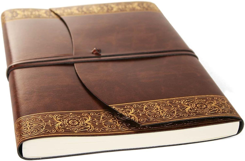 fa283a7207c240 LEATHERKIND Maya Recyceltes Leder Notizbuch Gold