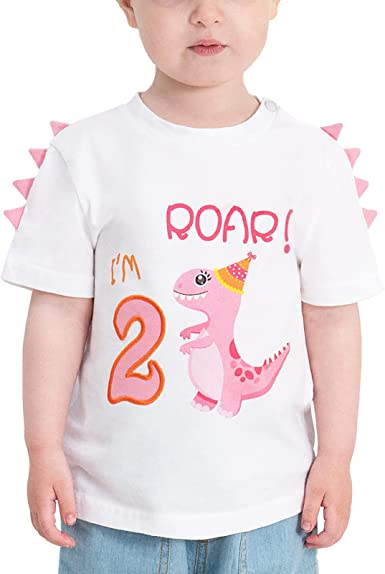 2nd Birthday Girl T-Shirt Dinosaur Party B-Day Themed Tee Gift for Toddler