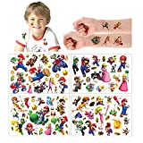 Temporäre Tattoo Set Kinder Tattoos für Super Mario,100+ Design 4 Blätter Super Mario Kindertattoos Aufkleber Stickers für Geschenktüten Kindergeburtstag Mitgebsel Mädchen Jungen…