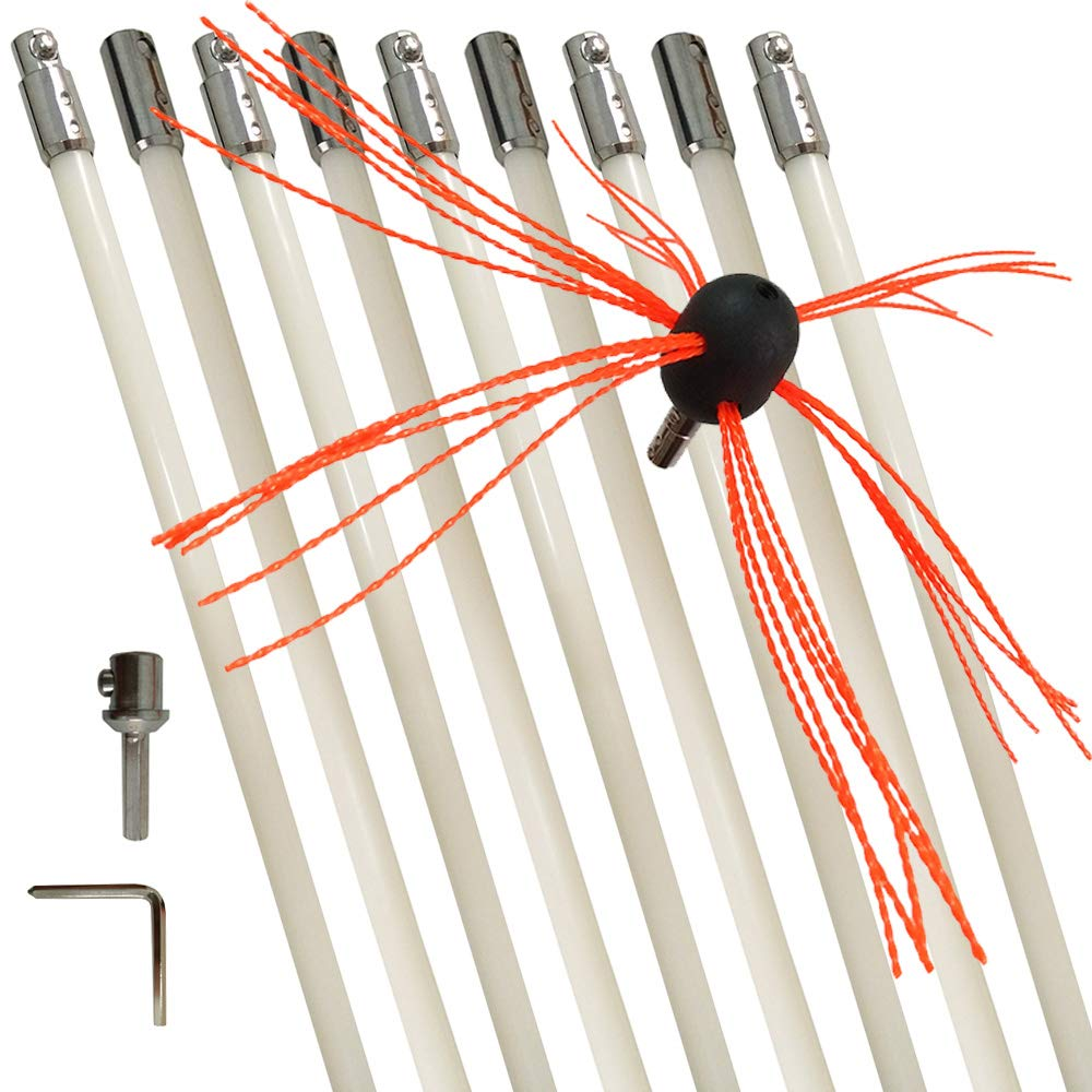 26ft Electrical Rotary Drill Drive Chimney Sw DECFLO Chimney Cleaning Brush Kit