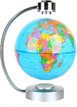 """Floating Globe, Office Desk Display Magnetic Levitating and Rotating Planet Earth Globe Ball with World Map, Cool and Educational Gift Idea for Him - 8"""" Ball with Levitation Stand (Blue)"""