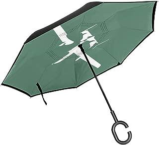 Tees Warthog Double Layer Auto Open Inverted Umbrella Cars Reverse Open Folding Umbrellas UV Protection Windproof Straight Umbrella C-Shaped Handle
