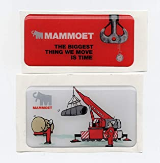 Mammoet Mammoth Crane Sticker Pair. Puffy, raised Hardhat Stickers/Decals, Value Pack. Great for the Roughneck, Oil Worker, Construction Worker. Looks great on a Helmet, Lunchbox, or Toolbox. Imported