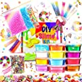 KiddosLand Crystal Slime Kit Slime Supplies for Girls Boys Clear Slime for Kids with Glitter Jar Foam Bead and Unicorn Toys for Slime Making kit Aged 6+