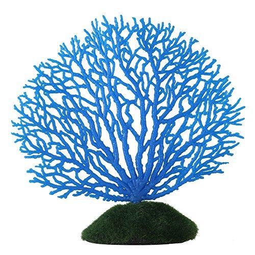 Ornamento Artificial de Coral Franja Coral Planta Ornamento de Silicona brilante Decoración Artificial para Acuario Tanque Paisaje(Azul)