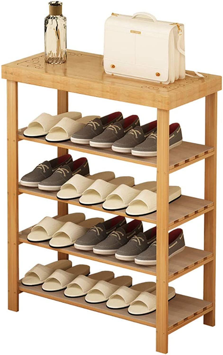4 Tier shoes Rack Bamboo shoes Cabinet Multi-Layer shoes Bench Storage Rack for shoes Flower Shelf (Size   L-50cm)