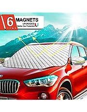 Ezlife Osłona na przednią szybę samochodu, osłona na przednią szybę samochodu, mocowanie magnetyczne, składana, zdejmowana osłona samochodowa na przednią szybę przed śniegiem, lodem, mrozem, kurzem, słońcem (189 x 116 cm)