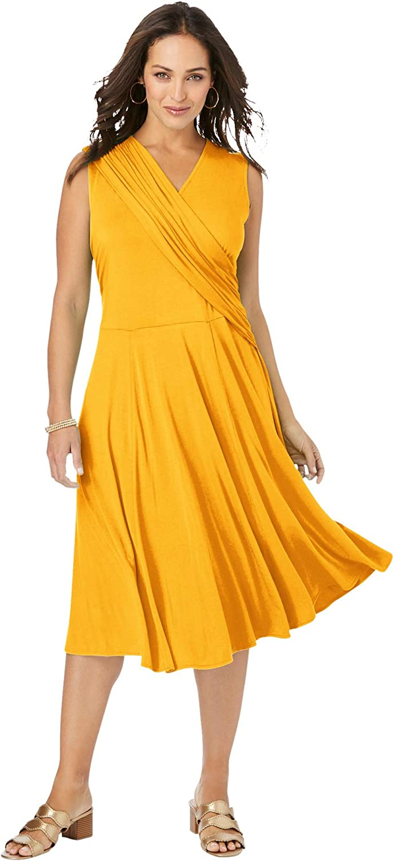 Jessica London Women's Plus Size Drape-Over Dress