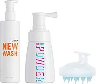 New Wash (DEEP) KIT - Hair Cleanser 8oz + Hair Powder 1.35oz + Scalp Brush for Cleansing and Conditioning