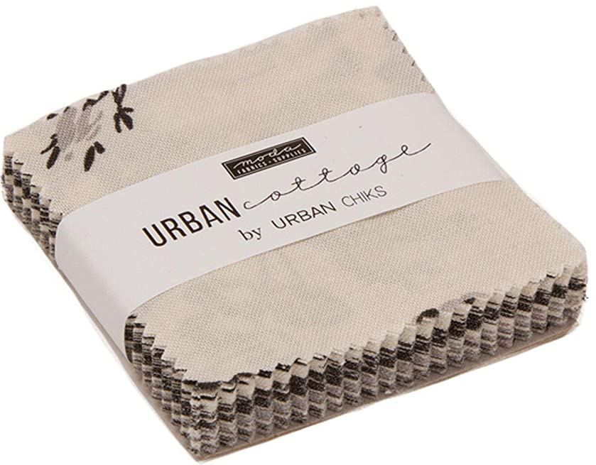 Urban Cottage Prints Mini Charm Pack by Urban Chiks; 42-2.5 Inch Precut Fabric Quilt Squares