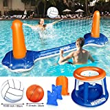 Weanas Inflatable Pool Float Set Volleyball Net and Basketball Hoops Floating Pool Swimming Game Toys Water...