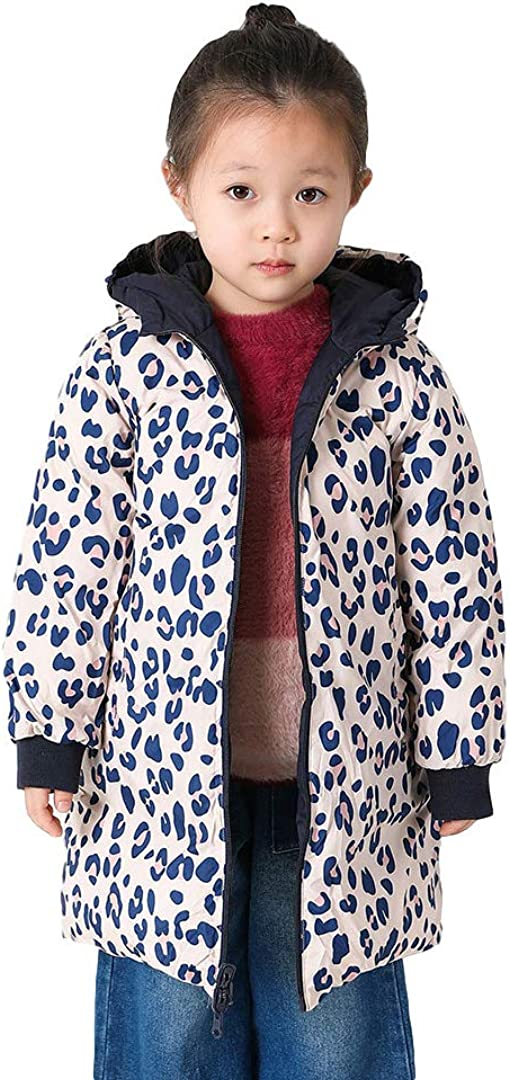 marc janie Girls' Light Weight Reversible Medium-length Hooded Down Jacket Leopard Grain Baby Girls Kids Down Puffer Coat