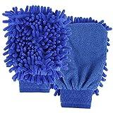 Paquete de 2 manoplas de lavado de felpilla para el cuidado del coche, guantes de microfibra para lavado de coche, impermeable para invierno, sin arañazos, talla única (color al azar)