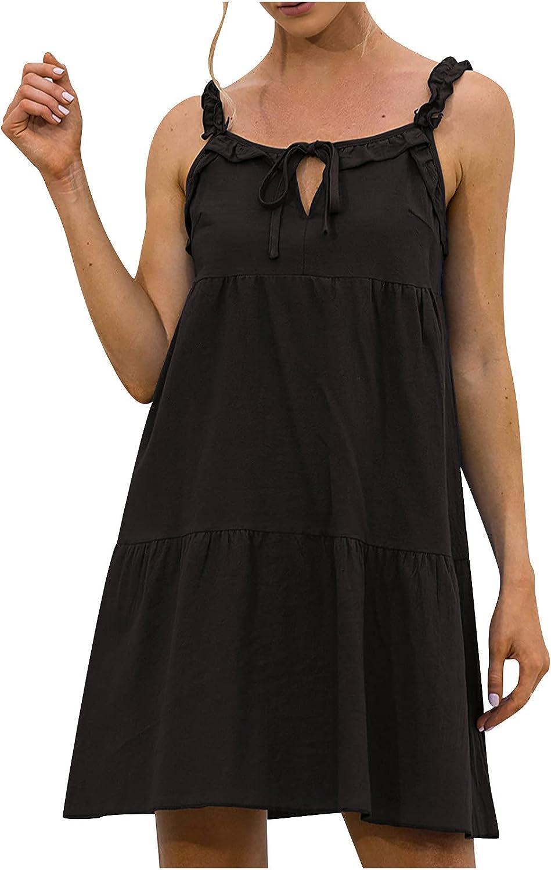 Sun Dresses Women Summer Ladies Loose Solid Color Lace-Up Sleeveless Sling Ruffle Mini Dress Womens Dresses