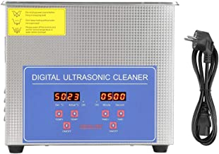 Ultrasonic Cleaner,Akozon Digital Ultra Sonic Cleaner Bath Timer Stainless Tank Cleaning 3L Jewelry Cleaner(EU Plug 220V)