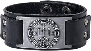 Gothic Sigil of Archangel Raphael Enochian Amulet Leather Bracelet for Men