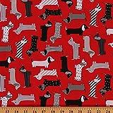 Cotton Urban Zoologie Red Mod Dogs Dachshund...