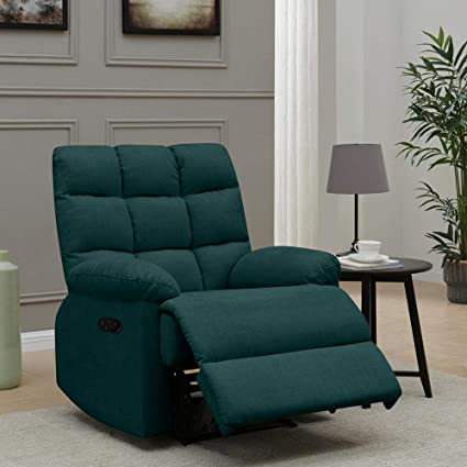 Furny Ronnie 1 Seater Fabric Recliner Sofa Teal  Recliners